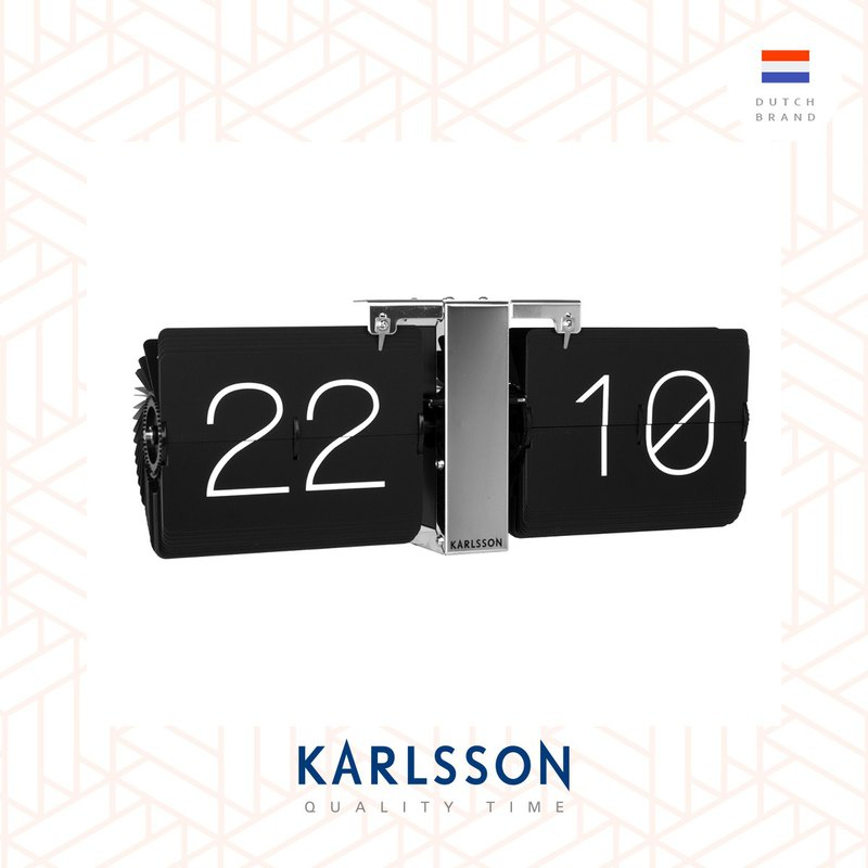 Karlsson, Flip clock No Case black, chrome stand黑色翻頁銀座