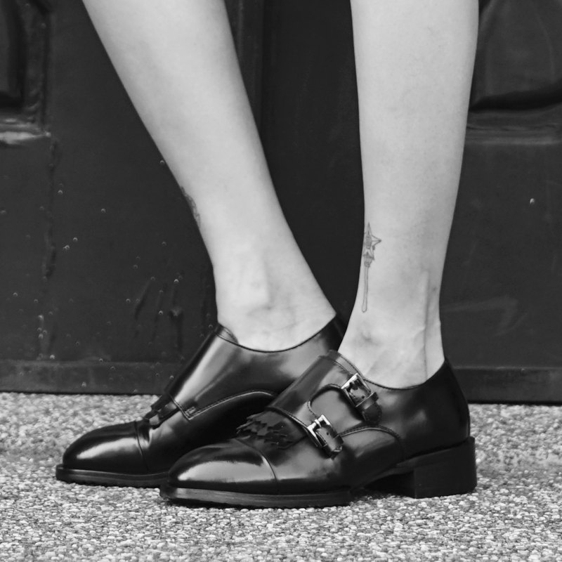 Black Double Monk Strap Lady Shoes