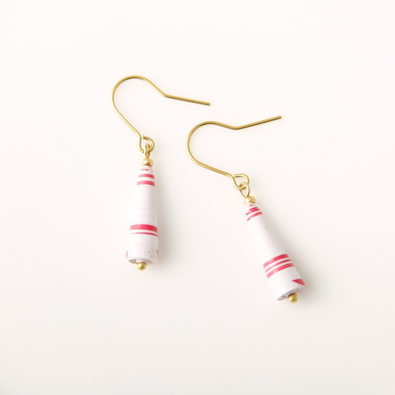 [Small paper hand made / paper art / jewelry] red and white striped small awl earrings