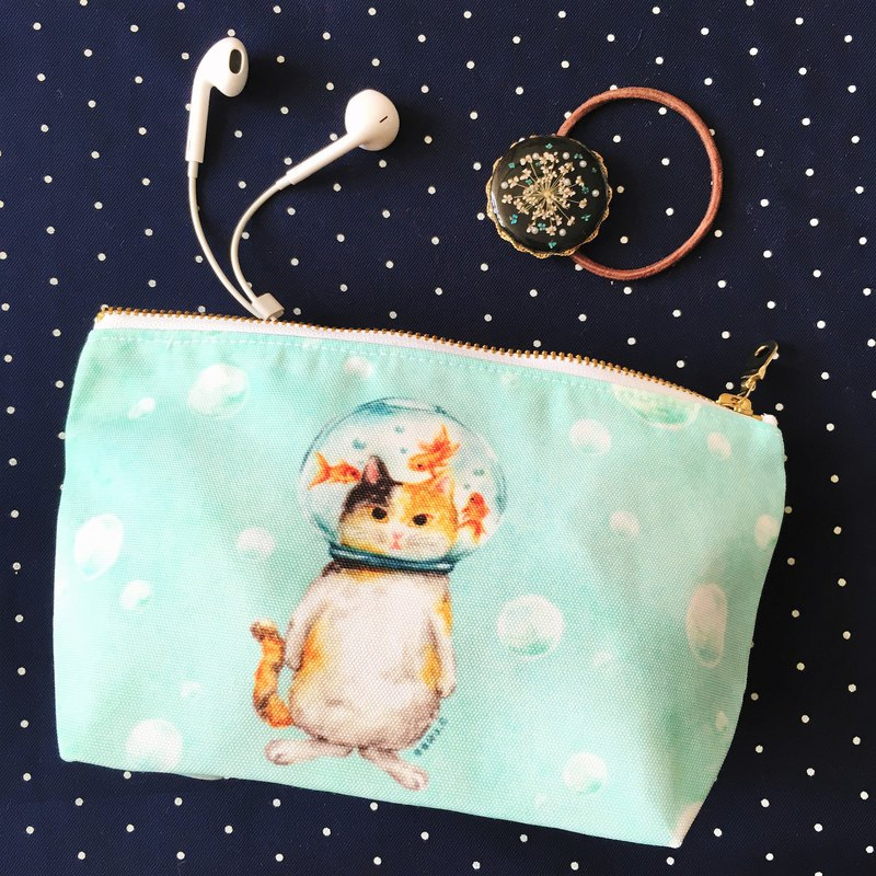 Glass ball cat goldfish cat cosmetic bag storage bag pencil case
