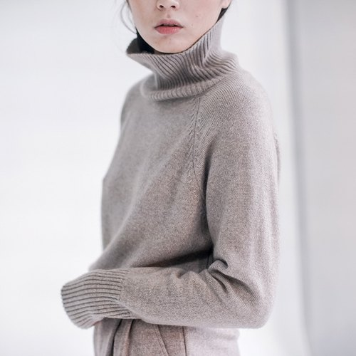 Gentle Oatmeal heavy high-end soft 100% pure cashmere Cashmere warm high-necked sweater and heavy heavy heavy outside those goods are not the same flirtatious | Fan Tata independent original design women's brands