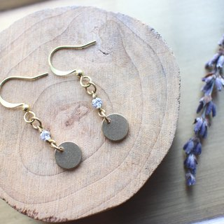 Little circles-zircon brass earrings