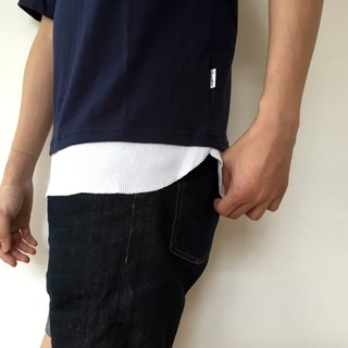 Longline Pocket tee with textured fake layer/summer/cotton/