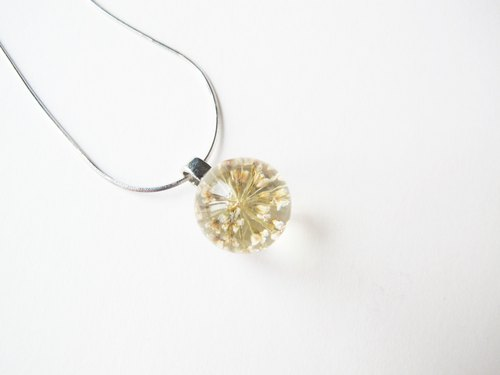 *Rosy Garden* Beige white pressed Queen Annes lace flower resin semi ball pendant Sterling silver chain necklace