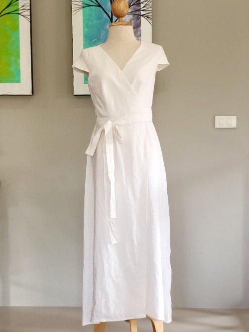 Isabella Linen Dress | Wrap dress | Summer Dress | Long Dress | white dress