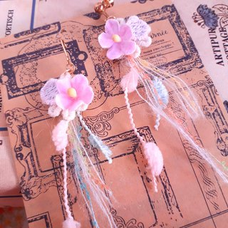 Forest fairy pink lace lace fringed feel earrings D136 gift forest dreams pure girl heart Valentine's Day gift
