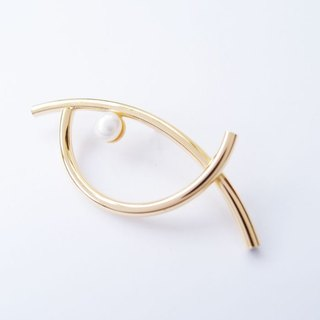 Eye EYE metal pearl brooch