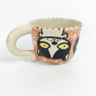 Nice Little Clay small four-legged cup upside down black and white cat ginseng 0108-12