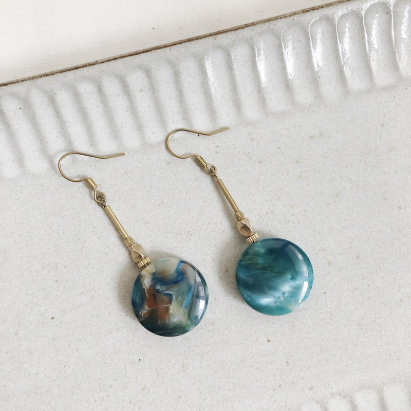 Brass Marble Earrings