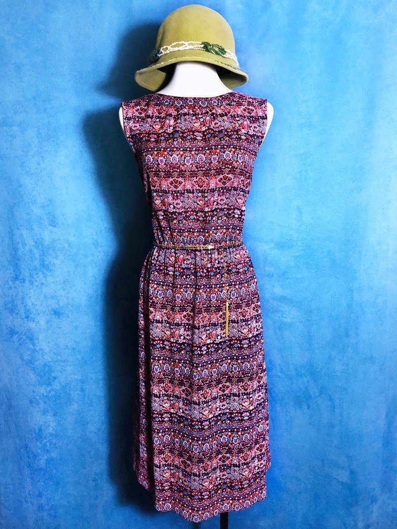 Complex flower sleeveless vintage dress / abroad brought back VINTAGE