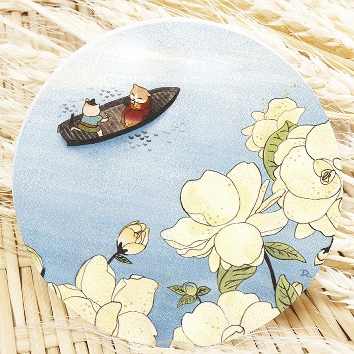 Cat ukiyo-painting - lake / ceramic water coaster