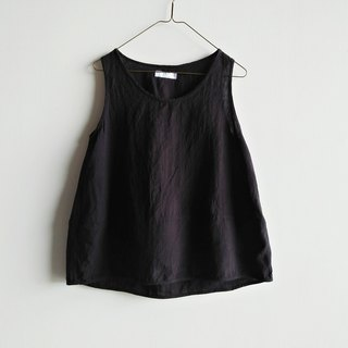 Micro-small stitching vest washed linen black