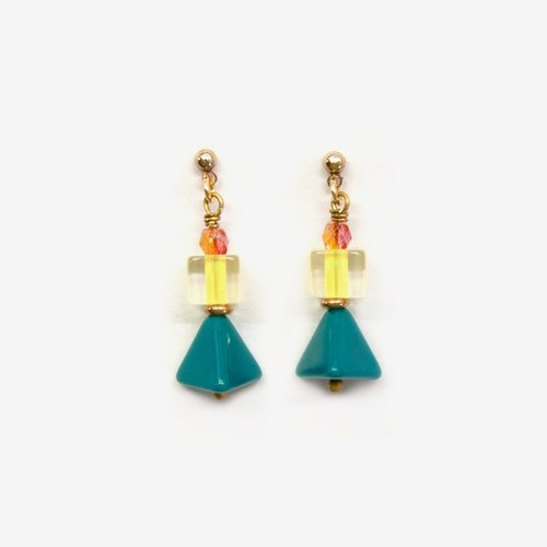 Light Yellow and Green Triangle Tree Earrings, Post Earrings, Clip On Earrings