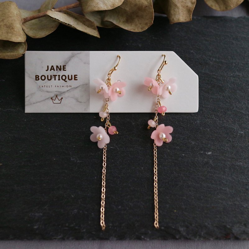 18kgf pink flowery cherry blossoms dangle long drop earrings wedding gift