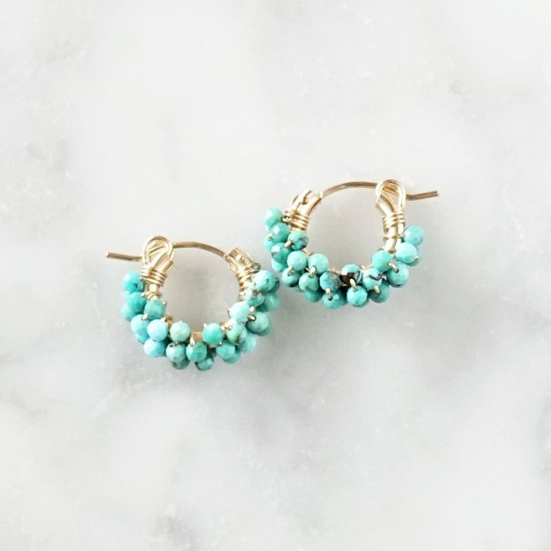 14kgf * Natural Turquoise pave pierced earring / earring