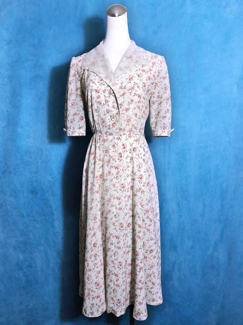 Double-necked rose short-sleeved vintage dress / brought back to VINTAGE abroad