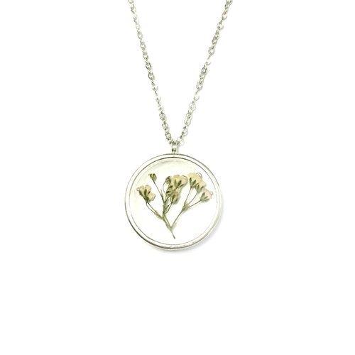 Jumbo Silver Framed Necklace (pressed flower necklace)