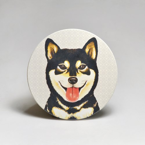 Water-absorbing ceramic coaster - Sheepskin head of the bubble black wood (can be customized text)