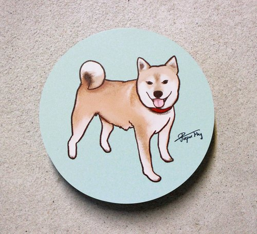 Shiba Inu / Original Illustration - Ceramic Water Coaster / Flies Planet / Shochiku Market /