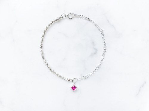:: Silver Trio :: Small Square (Raspberry) Asymmetric Double Chain Silver Bracelet