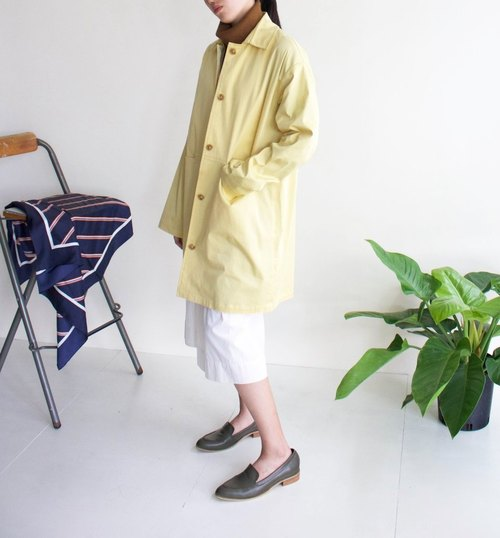 Yuki Trench Coat Goose Yellow Single Breasted Knee Jacket