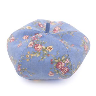 /Handmade beret hat/ Retro blue camellia and milk tea cotton reversible