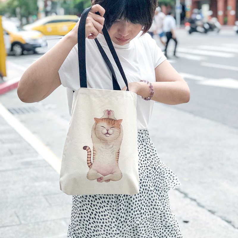 Animal Life Collection - (Chao Yujun) Cat Yoga Baby - Canvas Tote Bag