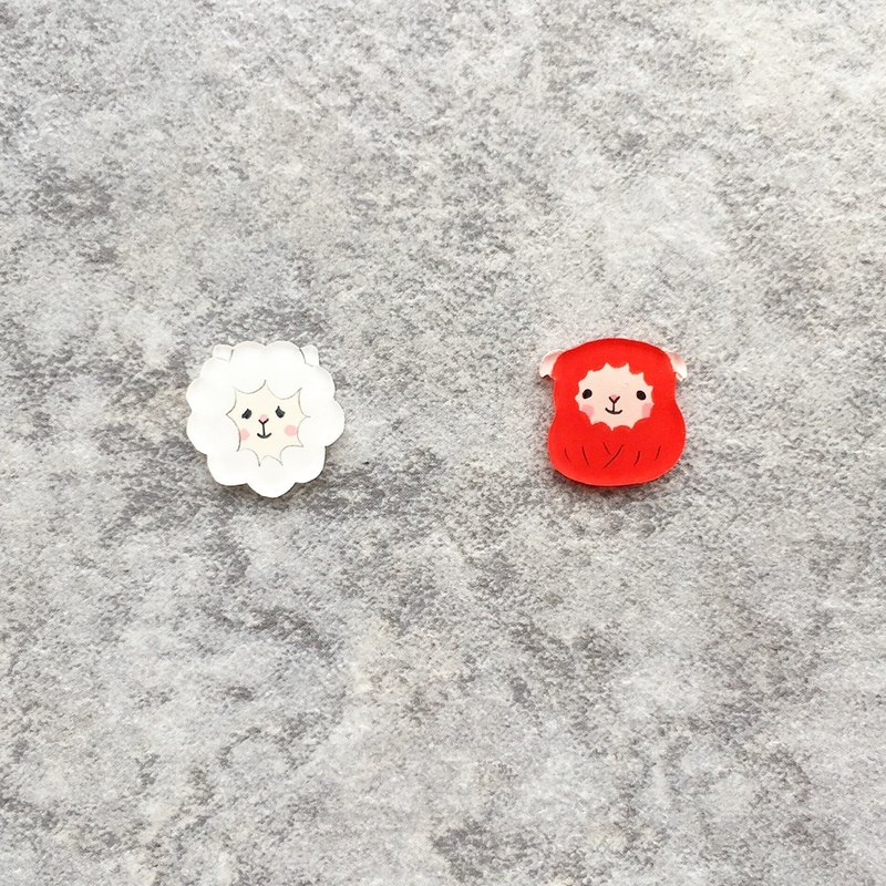 Pista Mound Hand-painted Earrings / Animals - Sheep + Tumbler Red Sheep