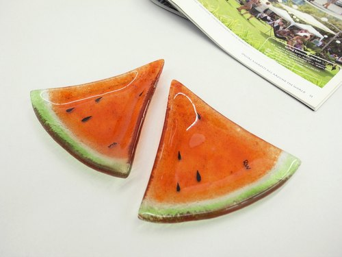 Highlight Also Come - Watermelon Kiln Glass Plate / Red