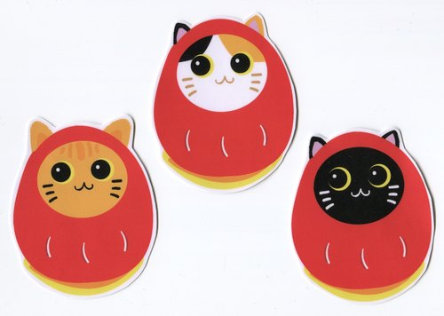 Lucky Eggs and Cats Large Sticker Set (3 Stickers) Waterproof