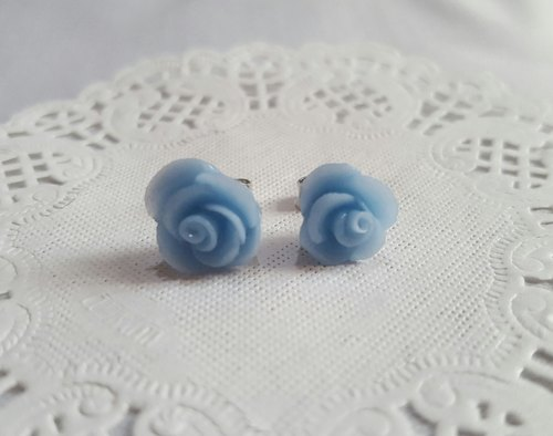 Romantic spring flowers [Tianshui blue - roses] ear paste earrings. Anti-allergic ear needle / earrings