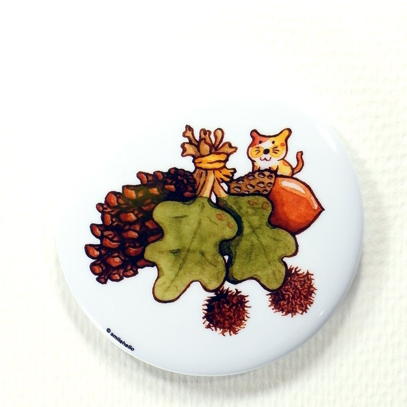 Pick up pine cones / smile feed Hellohello Illustrator log badge pin