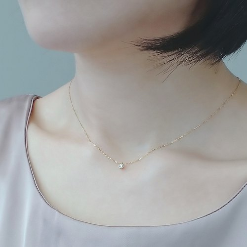 Natural Diamond 0.06 ct Prong Set 18K Yellow Solid Gold Dainty Necklace - Au750