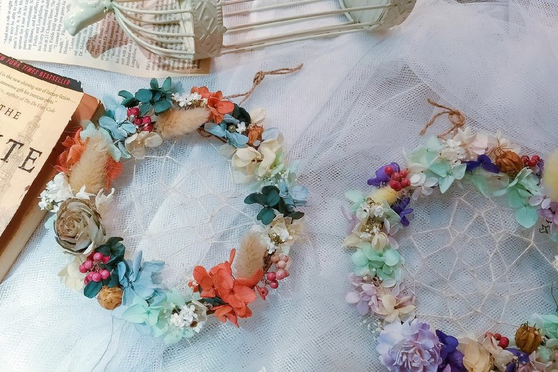 Dream catcher wreath dry flower teaching slab flower art class dry flower experience wreath experience