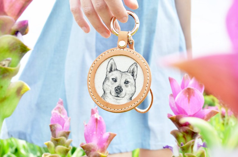 Handmade leather - custom pet sketch key ring / can be engraved English name