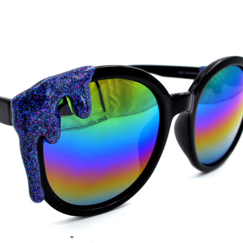 Purple blue glitter powder ice cream black sunglasses