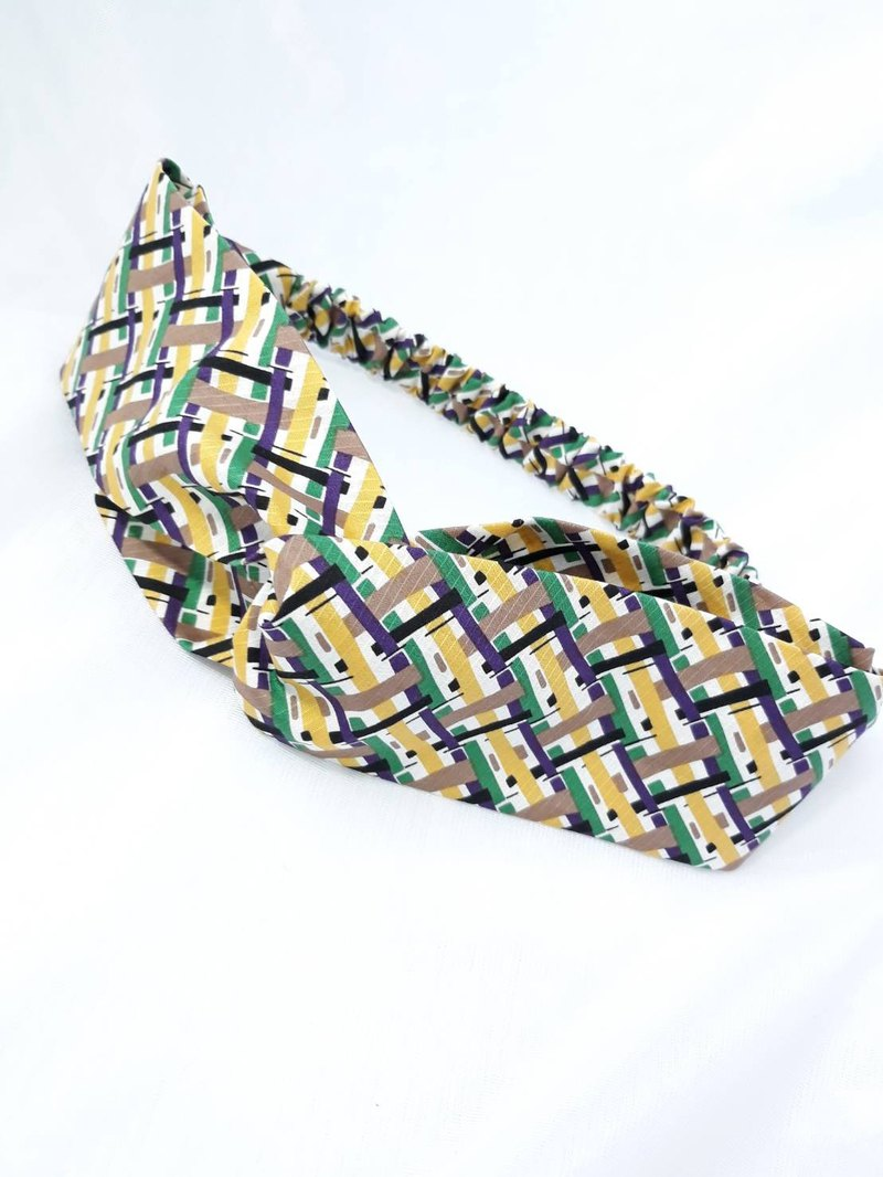 Yellow and green staggered plaid handmade hair band