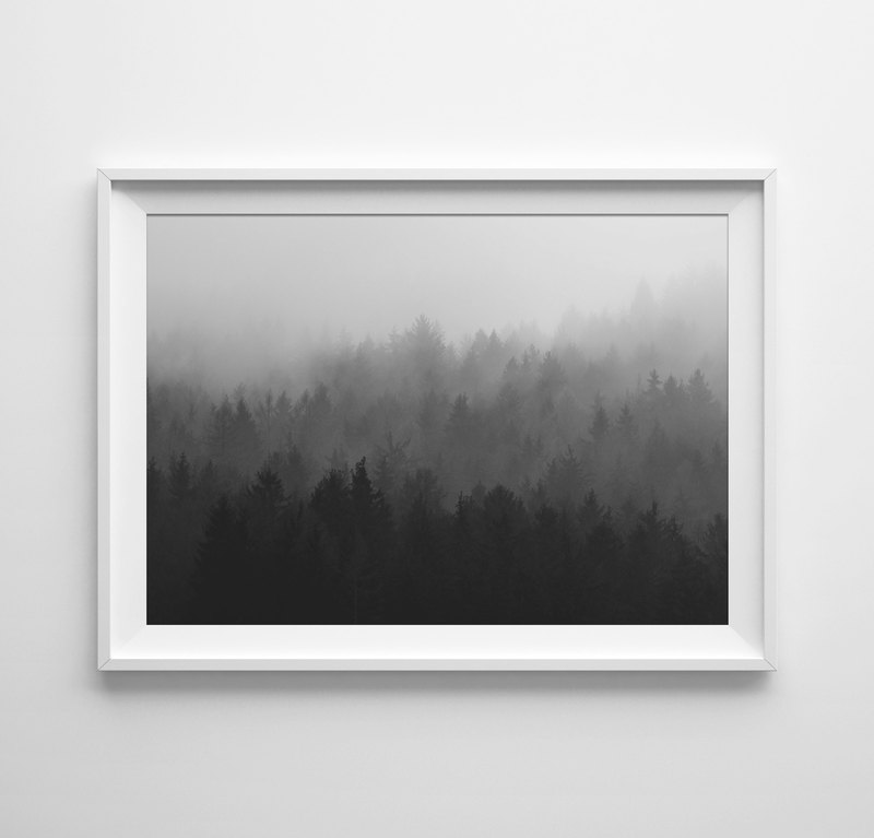 Forest print black and white customizable posters