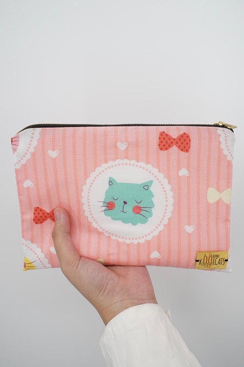 Mixed Material Pouch with Green Cat