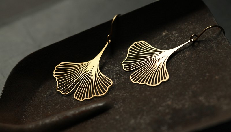 金銀杏耳環 Ginkgo Earrings (Gold)