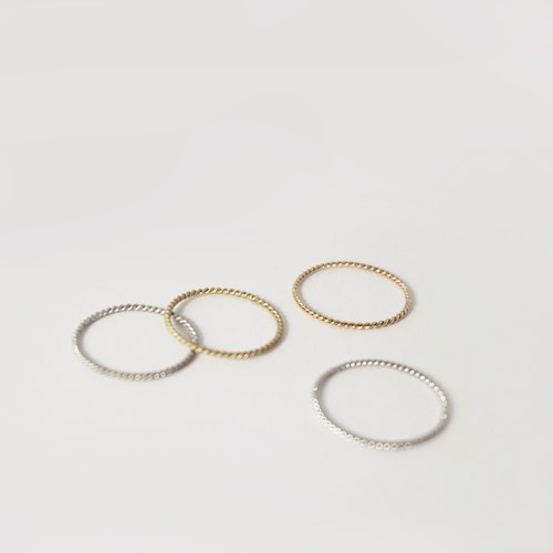 [Line.] Line ring - 14k gold twist line (smooth / frosted) 2 color