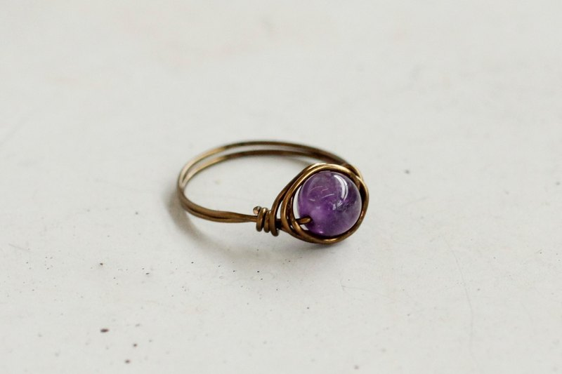 6mm amethyst rose gold copper wire ring