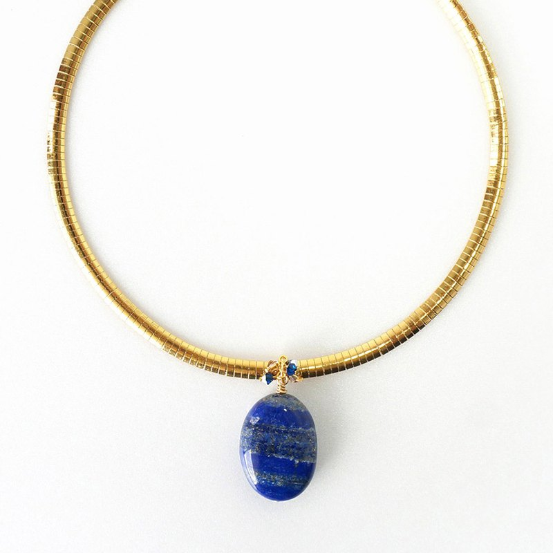 Big Blue Lapis Lazuli Stone Pendant Necklace  in Gold Stainless Steel Flat Chain