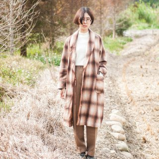 Decadent siesta. Old school gradation large plaid plush robe coat / long coat # Vintage # Vintage # Wan Er