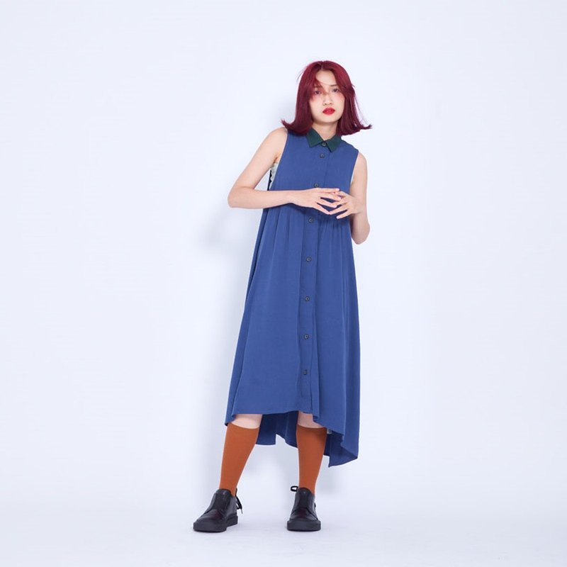 Corsage _ Odé Vest Dress (Blue) TaiwanDesign