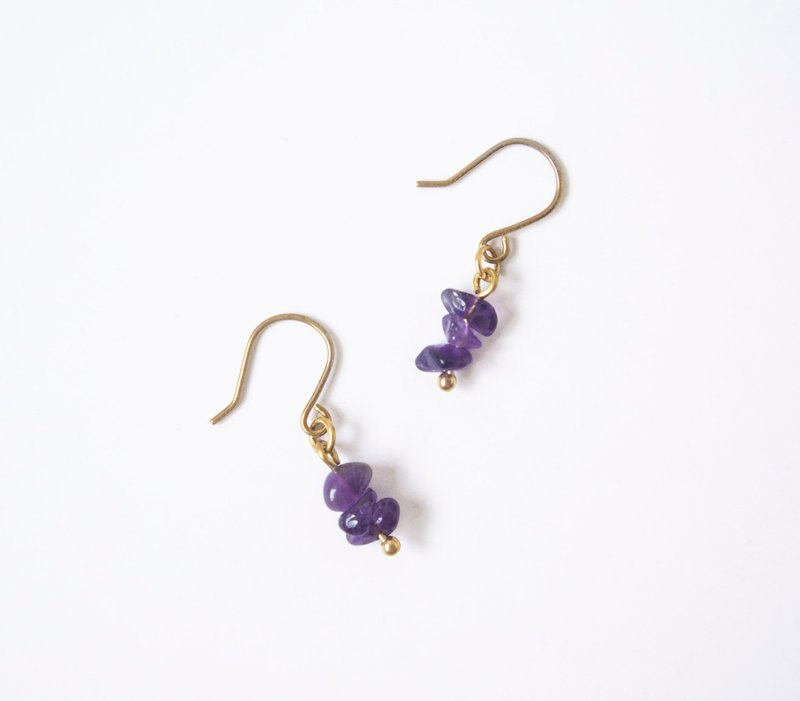 Find it / Wisteria Flower - Amethyst Brass Earrings