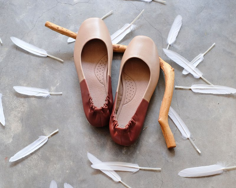 TWO TONE two-tone leather round-toe flat shoes doll shoes ballet shoes