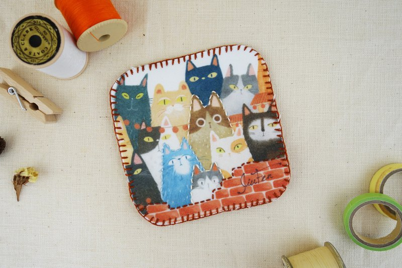 Hand Sewing Cup Mat - Cat Jenga