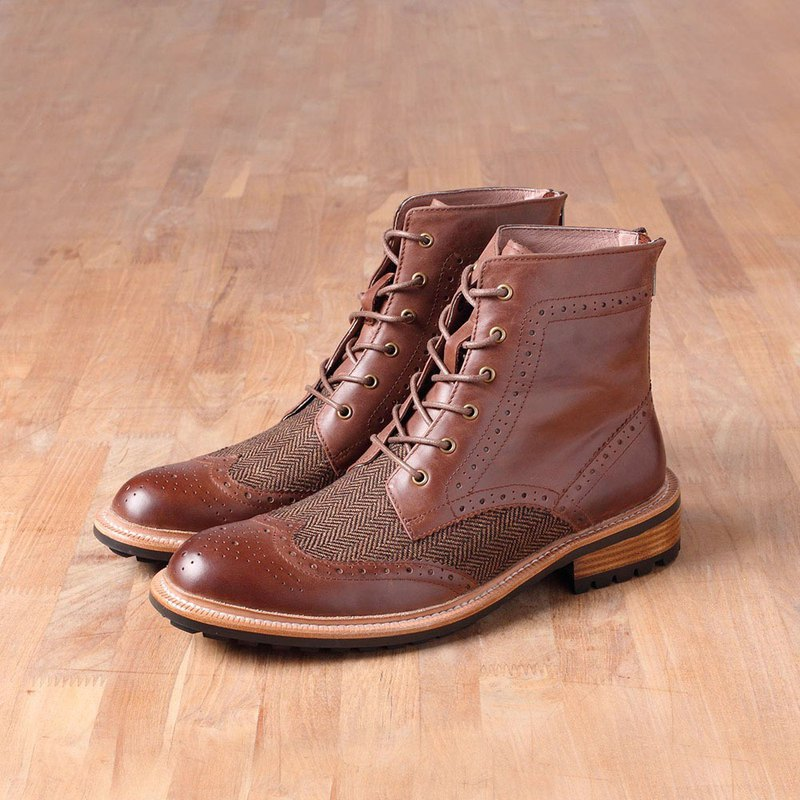 Vanger Elegant American ‧ British revival wing lace boots Va189 coffee X Mao splicing