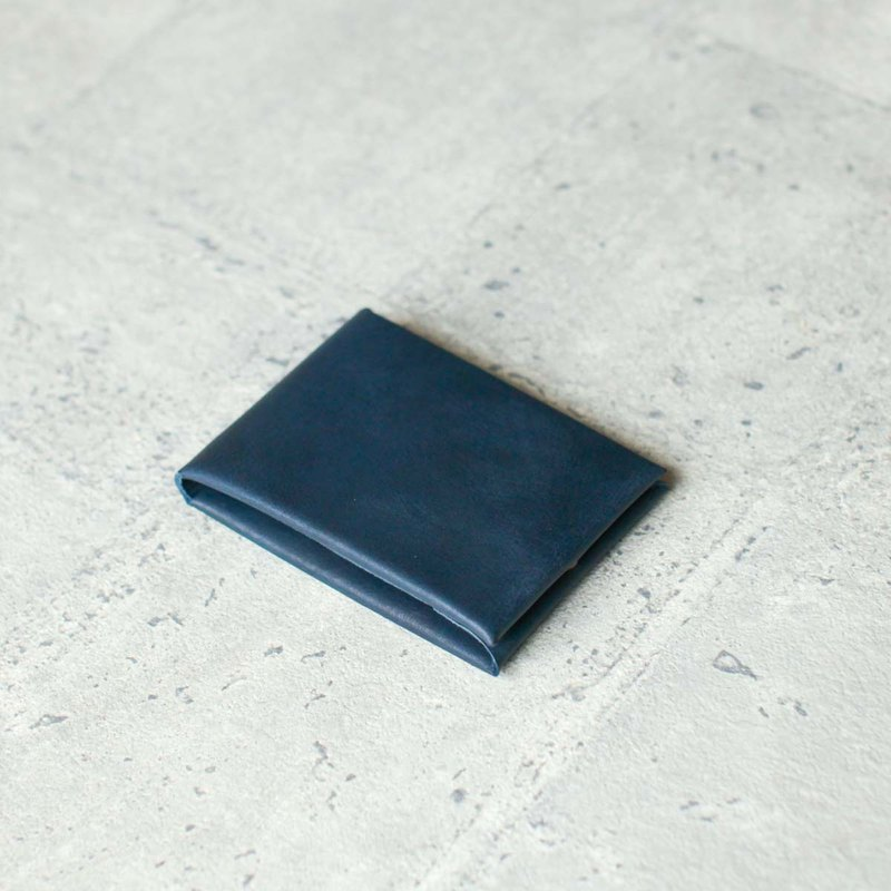 Navy Minimal style veg-tanned leather coin card wallet